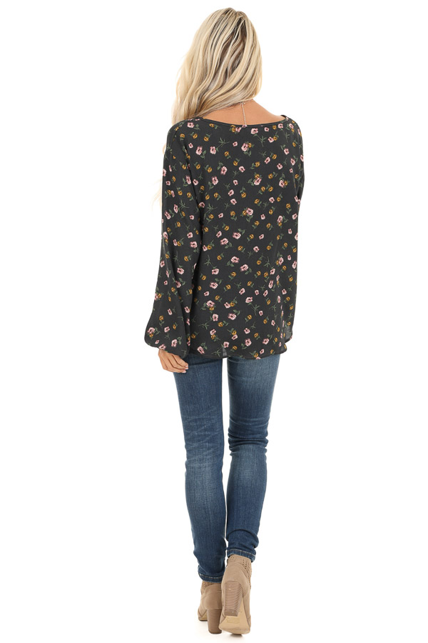 Charcoal Floral Print Button Up Top with Long Sleeves back full body