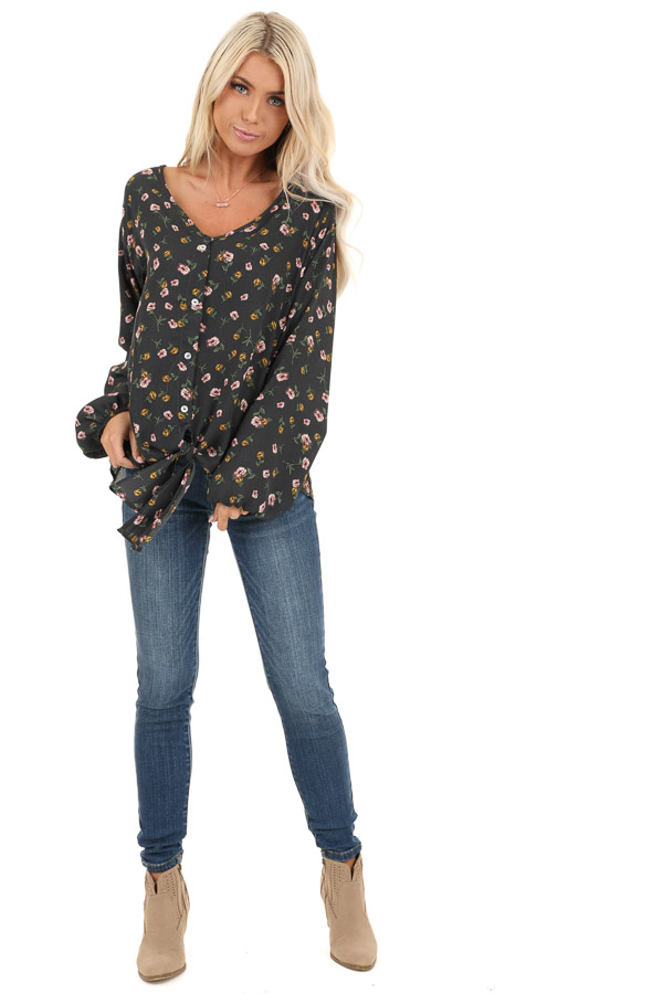 Charcoal Floral Print Button Up Top with Long Sleeves front full body