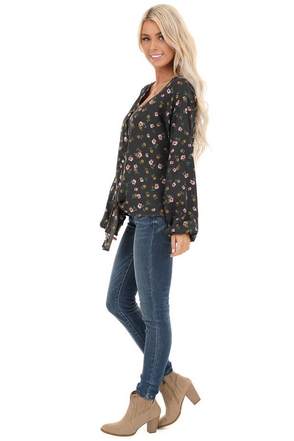 Charcoal Floral Print Button Up Top with Long Sleeves side full body