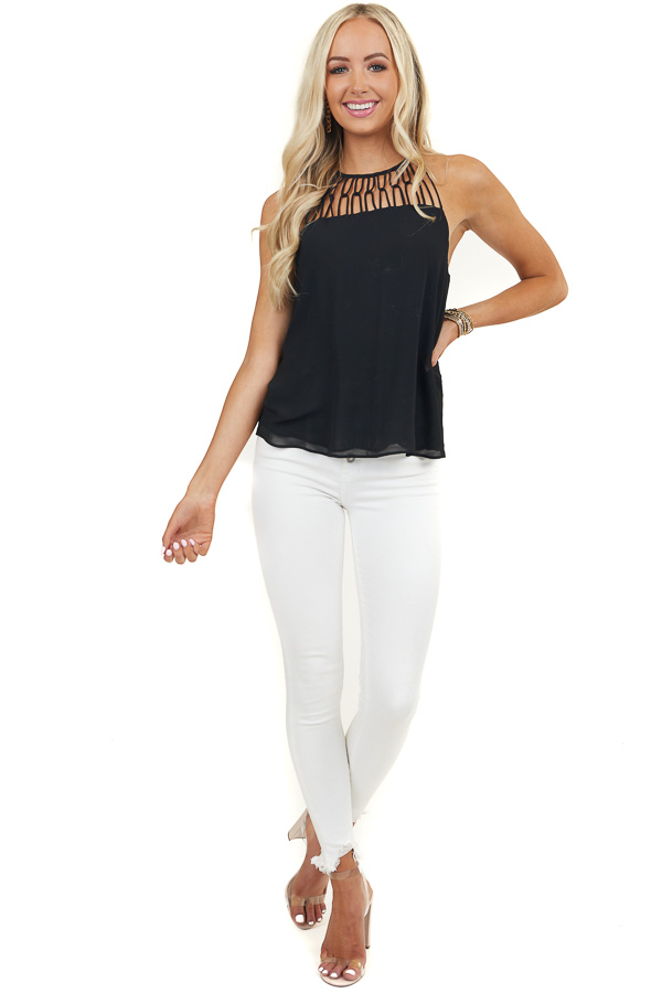 Midnight Black Tank Top with Loop Knotted Neckline