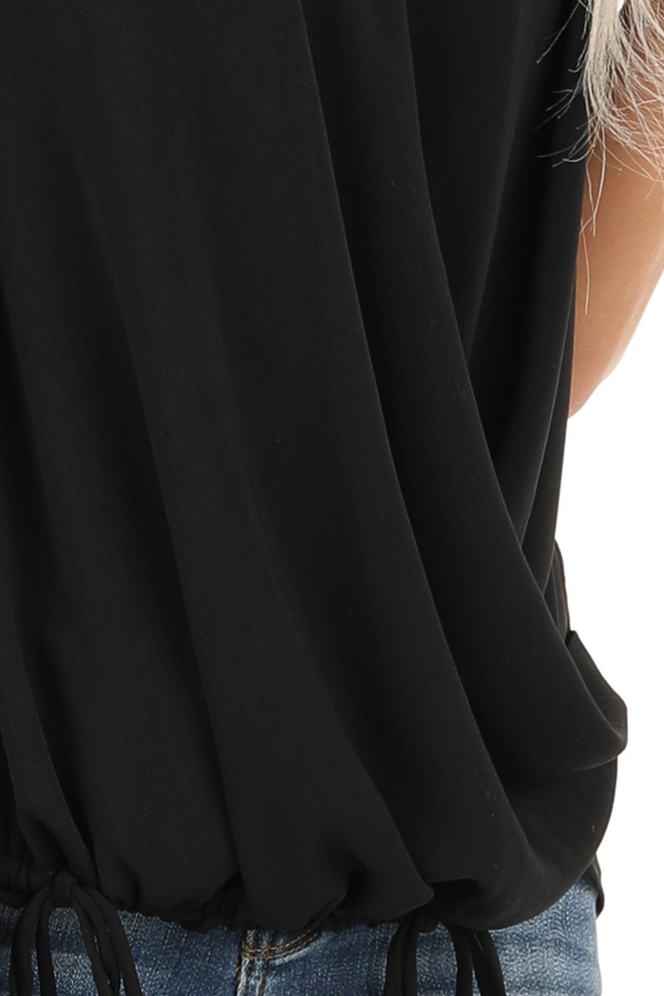 Black Surplice Sleeveless Top with Drawstring Tie Hemline detail