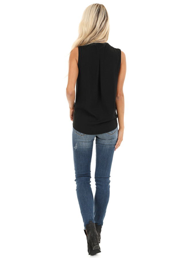 Black Surplice Sleeveless Top with Drawstring Tie Hemline back full body