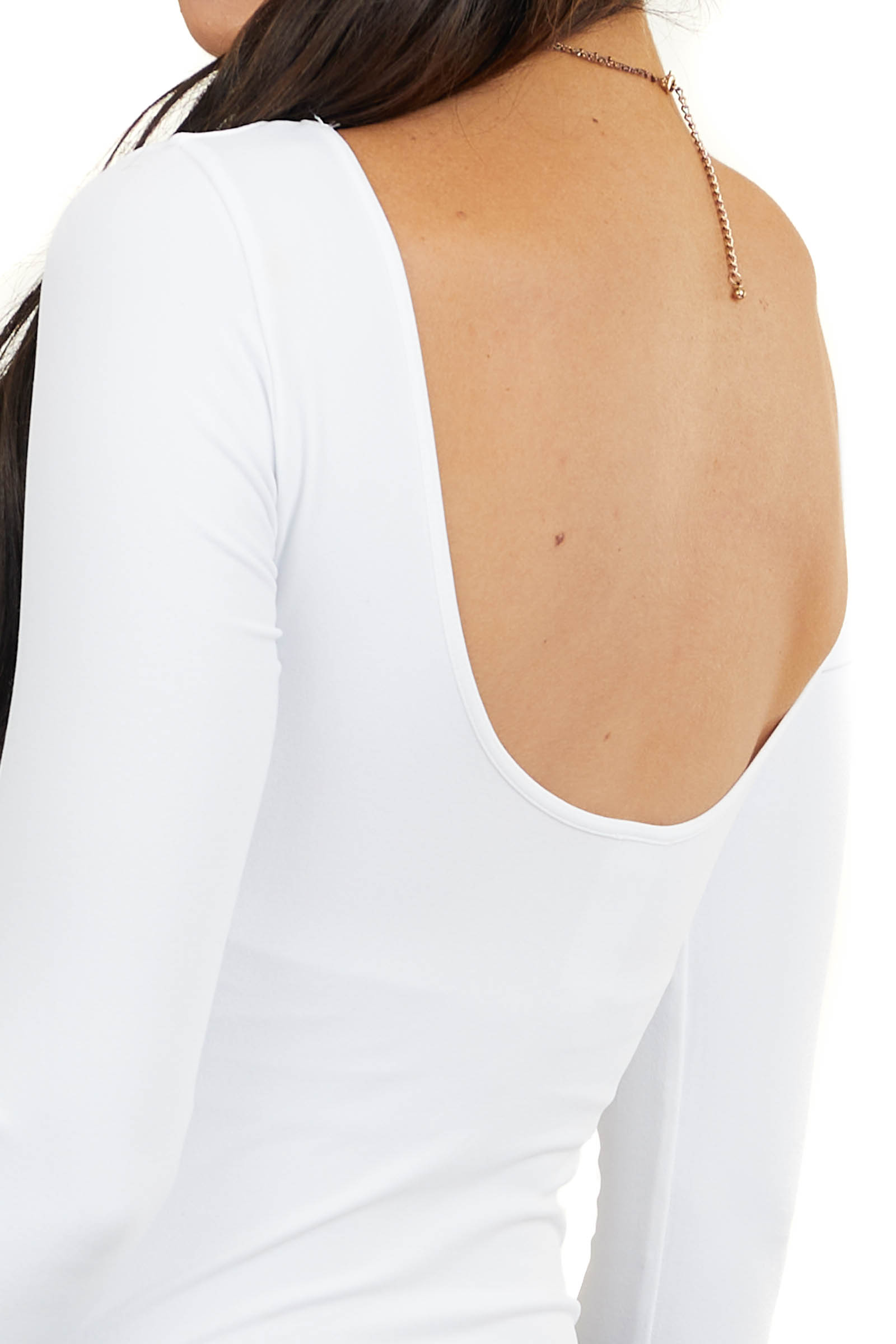 White Seamless Boat Neck Bodysuit with Low Back