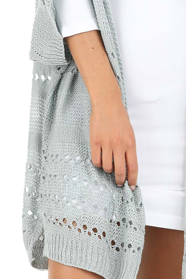 Dusty Blue Crochet Knit Cardigan with Short Sleeves detail