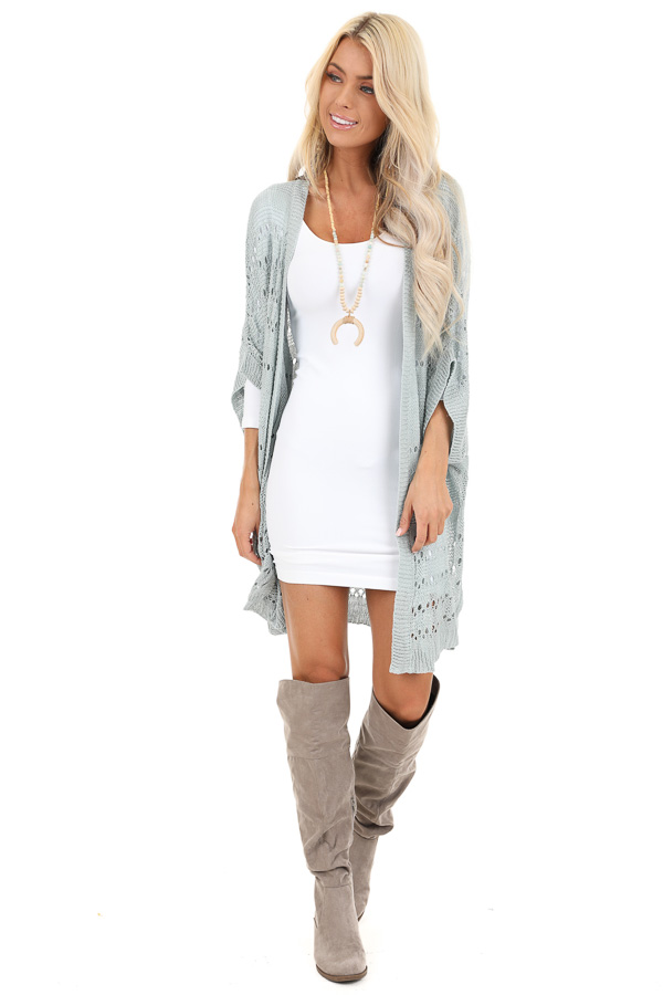 Dusty Blue Crochet Knit Cardigan with Short Sleeves front full body