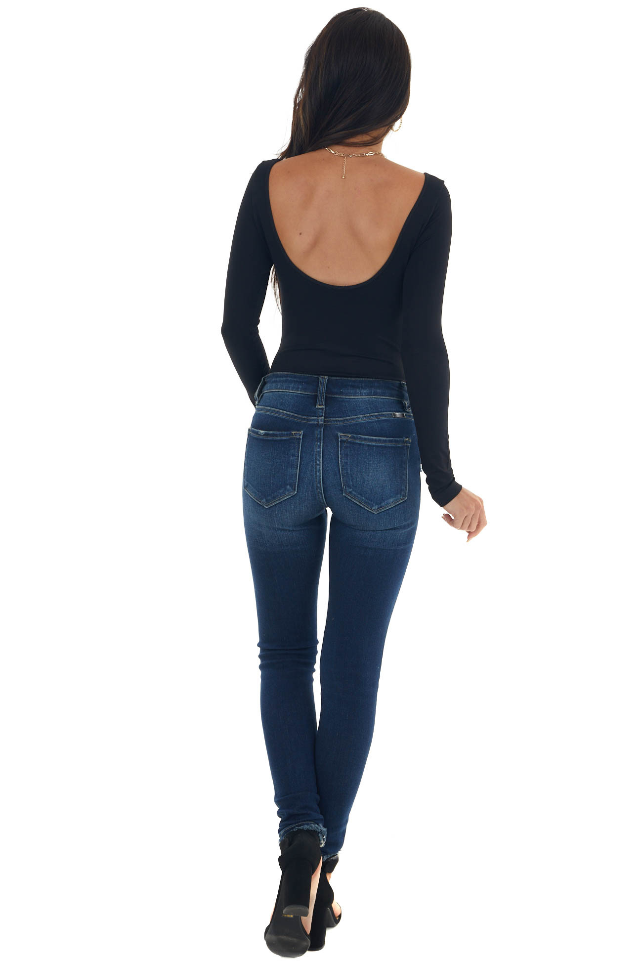 Black Seamless Boat Neck Bodysuit with Low Back