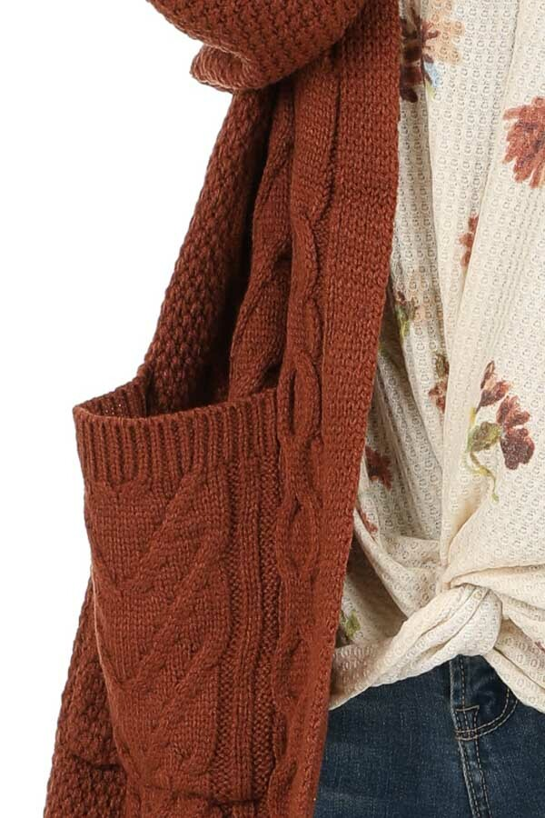 Rust Cable Knit Cardigan with Long Sleeves detail