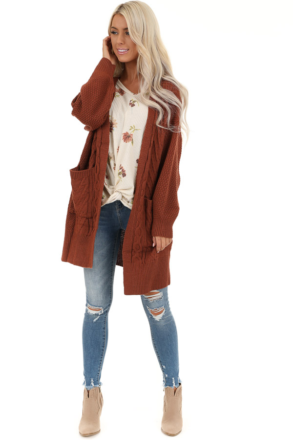 Rust Cable Knit Cardigan with Long Sleeves front full body