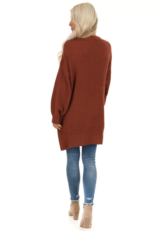 Rust Cable Knit Cardigan with Long Sleeves back full body