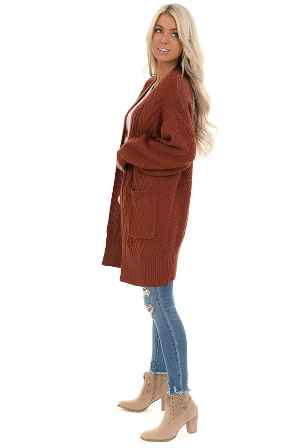 Rust Cable Knit Cardigan with Long Sleeves side full body