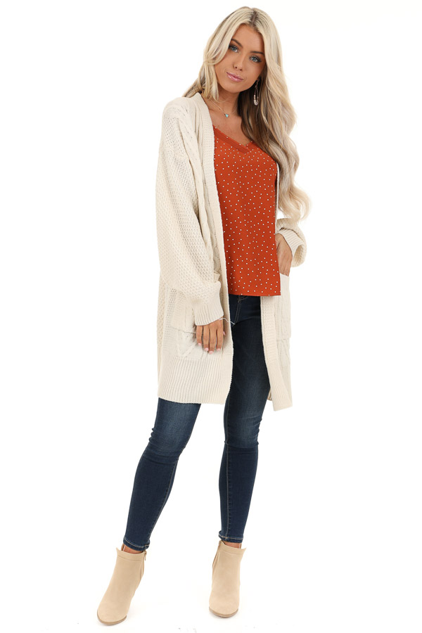 Cream Cable Knit Cardigan with Long Sleeves front full body