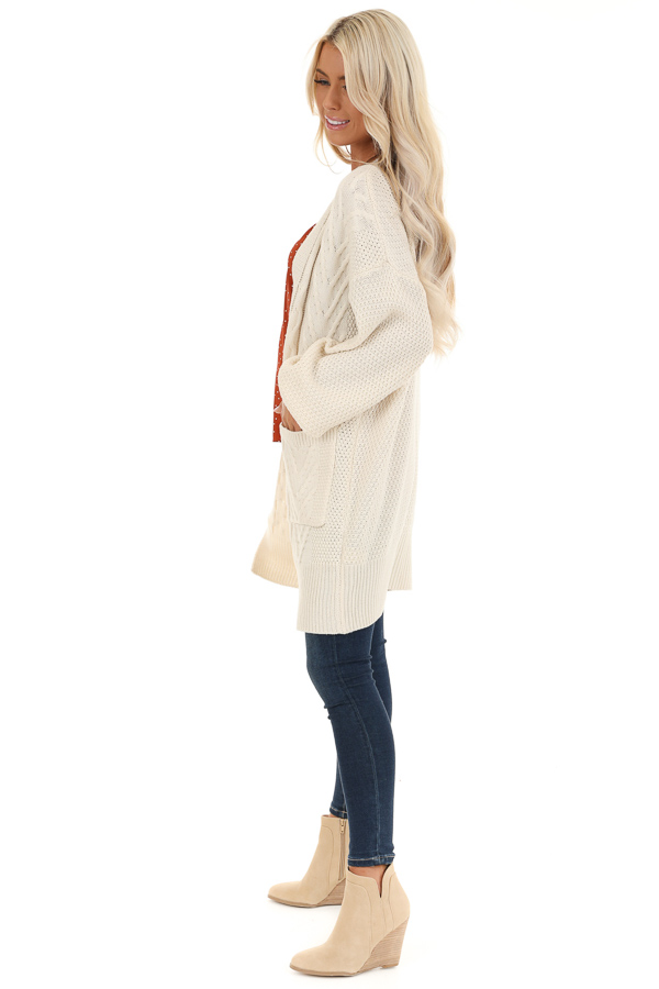 Cream Cable Knit Cardigan with Long Sleeves side full body