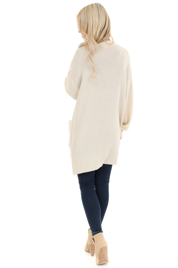 Cream Cable Knit Cardigan with Long Sleeves back full body