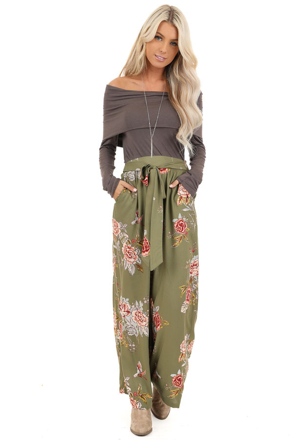 Olive Floral Print Wide Leg Pants with Self Tie front full body
