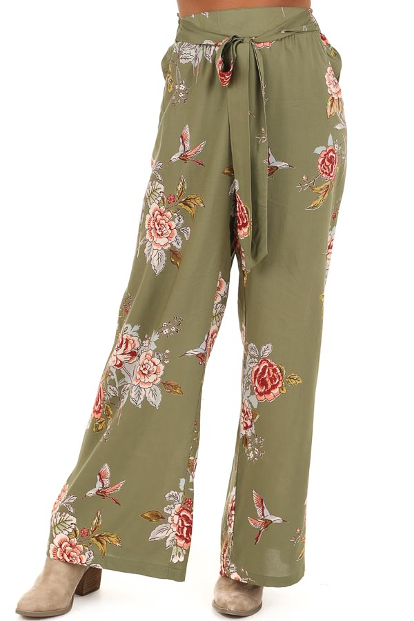 Olive Floral Print Wide Leg Pants with Self Tie front view