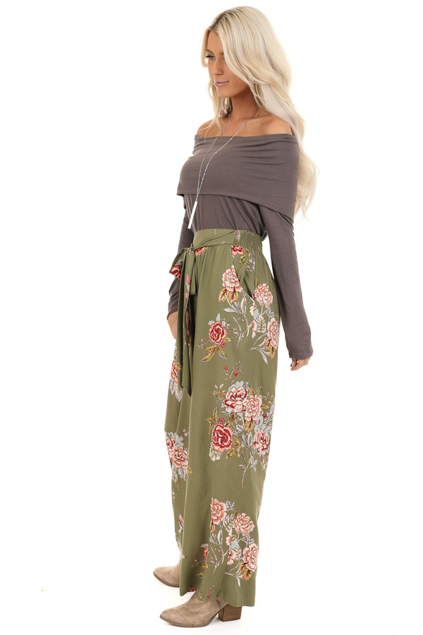 Olive Floral Print Wide Leg Pants with Self Tie side full body