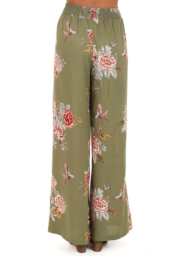 Olive Floral Print Wide Leg Pants with Self Tie back view