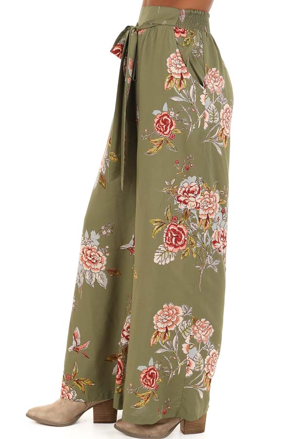 Olive Floral Print Wide Leg Pants with Self Tie side view