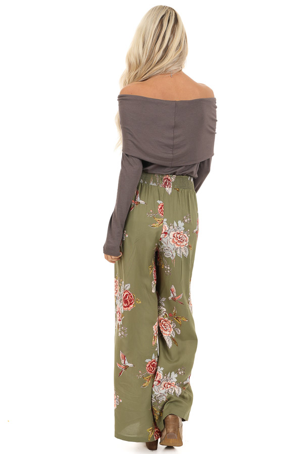 Olive Floral Print Wide Leg Pants with Self Tie back full body
