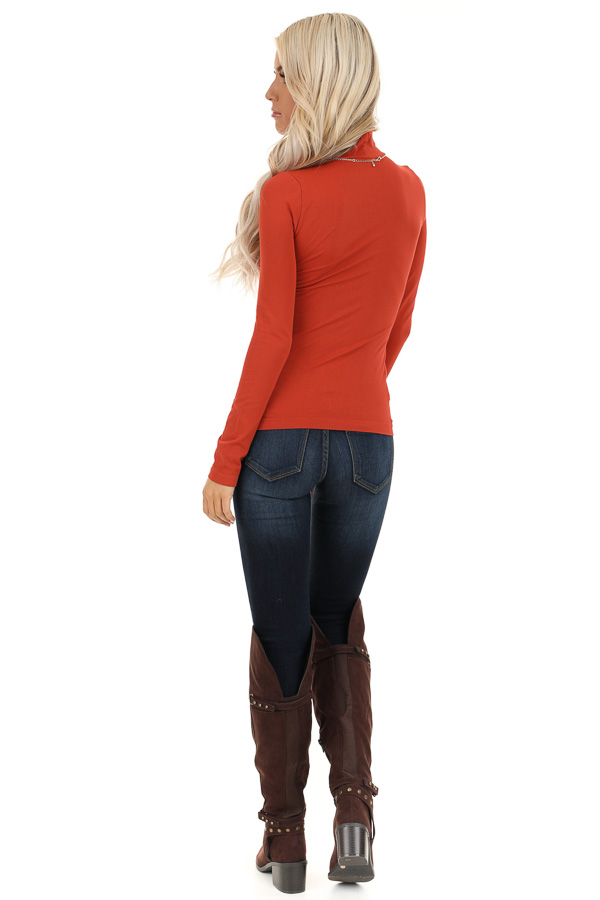 Rust Basic Long Sleeve Mock Neck Top back full body