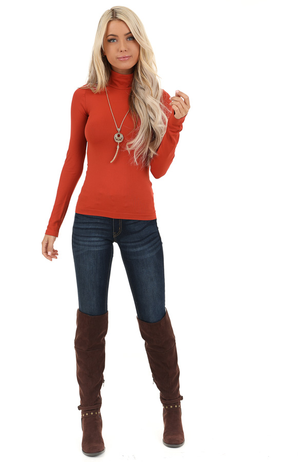 Rust Basic Long Sleeve Mock Neck Top front full body