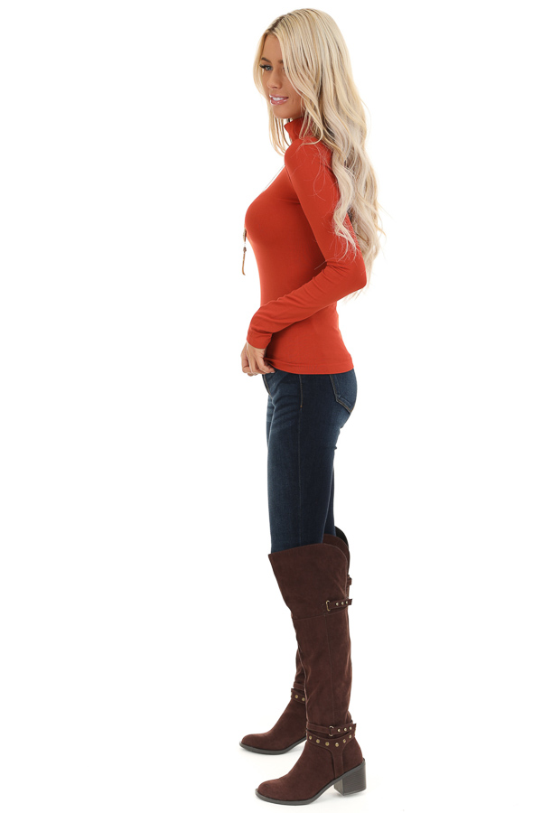 Rust Basic Long Sleeve Mock Neck Top side full body