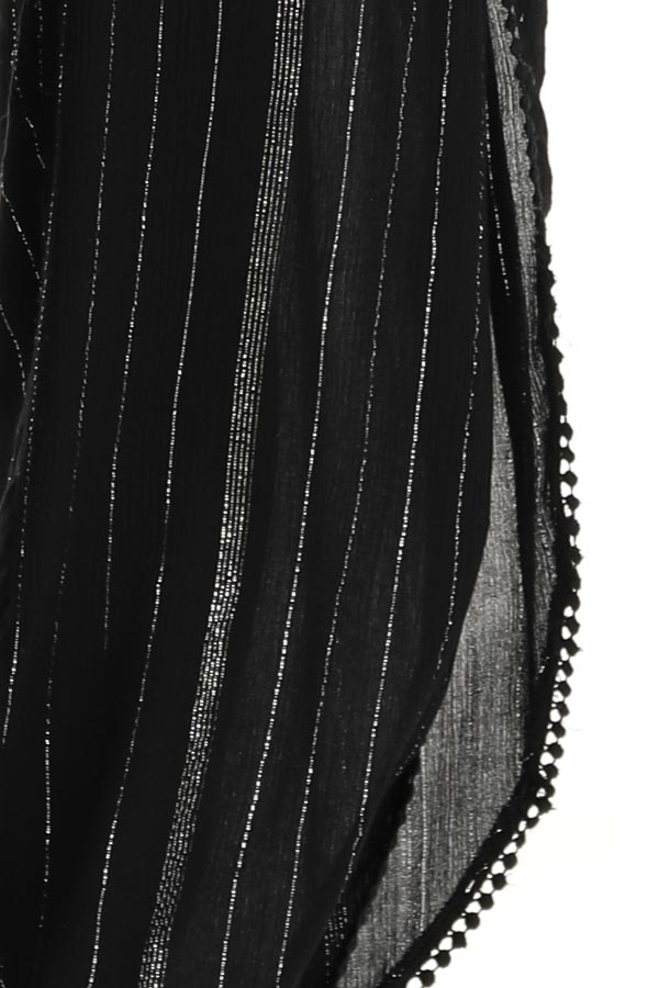 Jet Black Pinstriped Wide Leg Pants with Slits and Tie detail