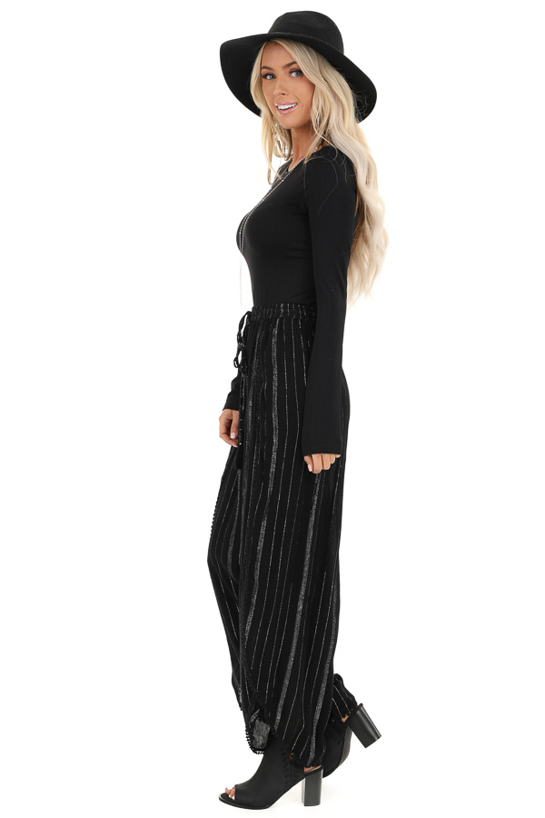 Jet Black Pinstriped Wide Leg Pants with Slits and Tie front full body