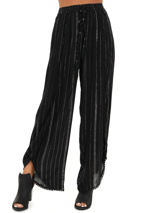 Jet Black Pinstriped Wide Leg Pants with Slits and Tie front view