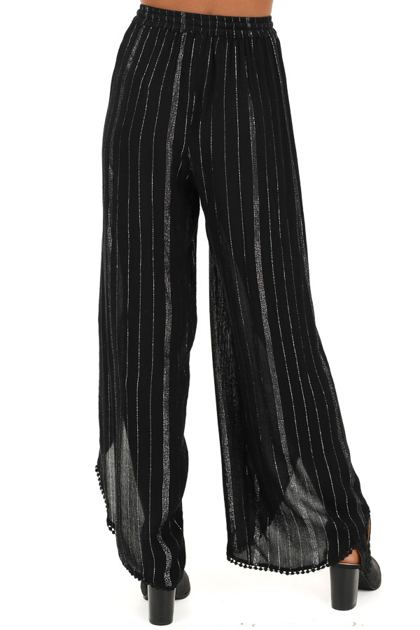 Jet Black Pinstriped Wide Leg Pants with Slits and Tie back view