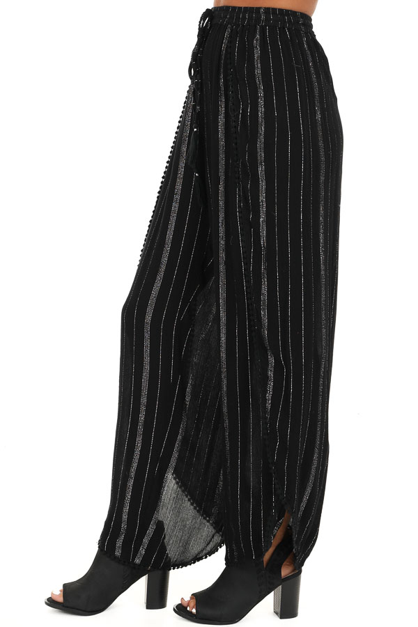 Jet Black Pinstriped Wide Leg Pants with Slits and Tie side view