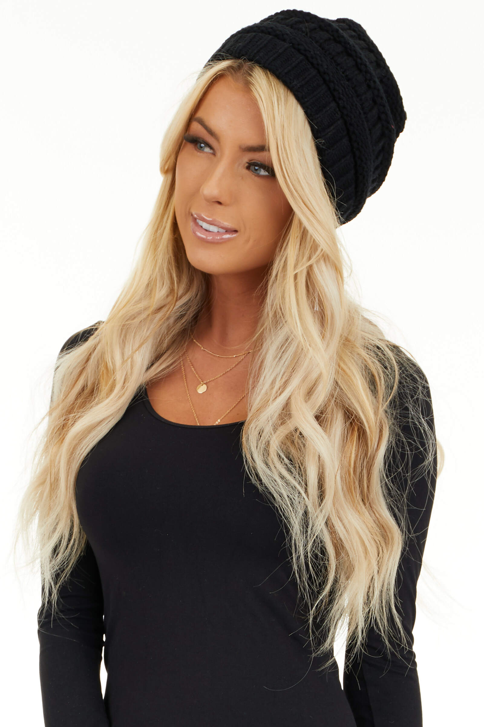 Midnight Black Ribbed Knit Beanie front view
