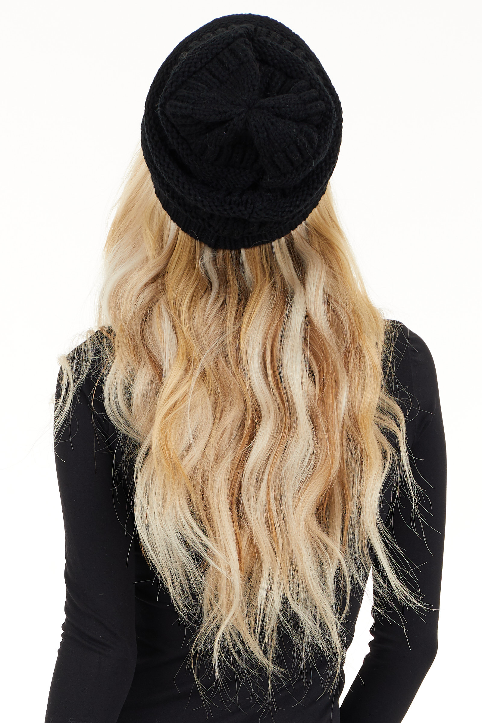 Midnight Black Ribbed Knit Beanie back view