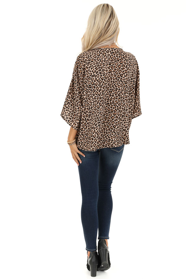 Taupe Leopard Print Top with Front Tie Detail back full body