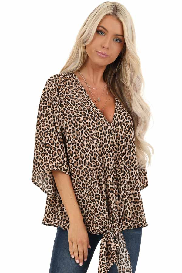 Taupe Leopard Print Top with Front Tie Detail front close up