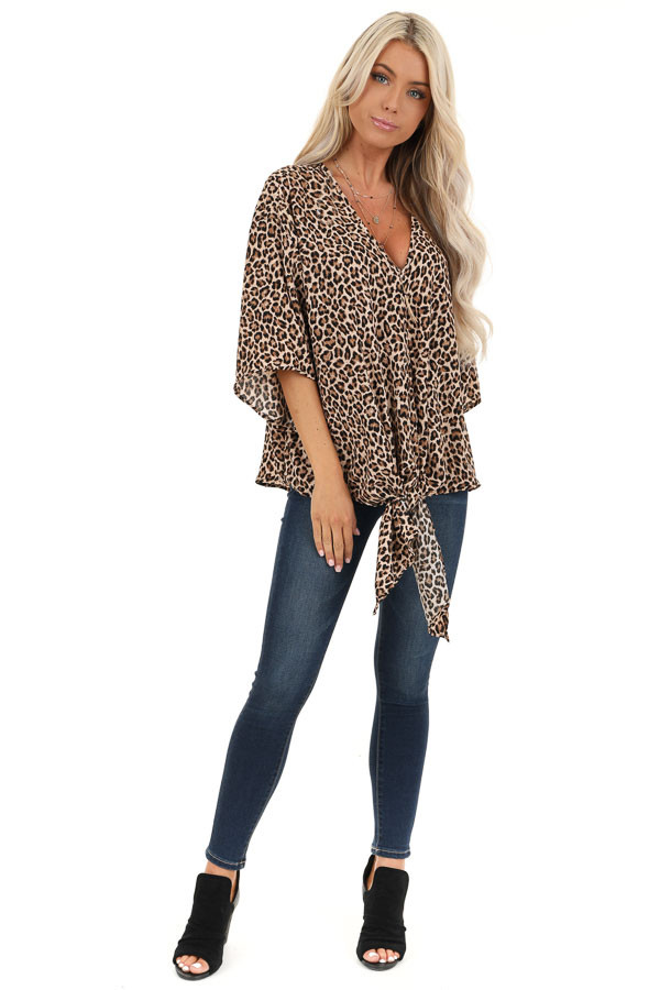 Taupe Leopard Print Top with Front Tie Detail front full body