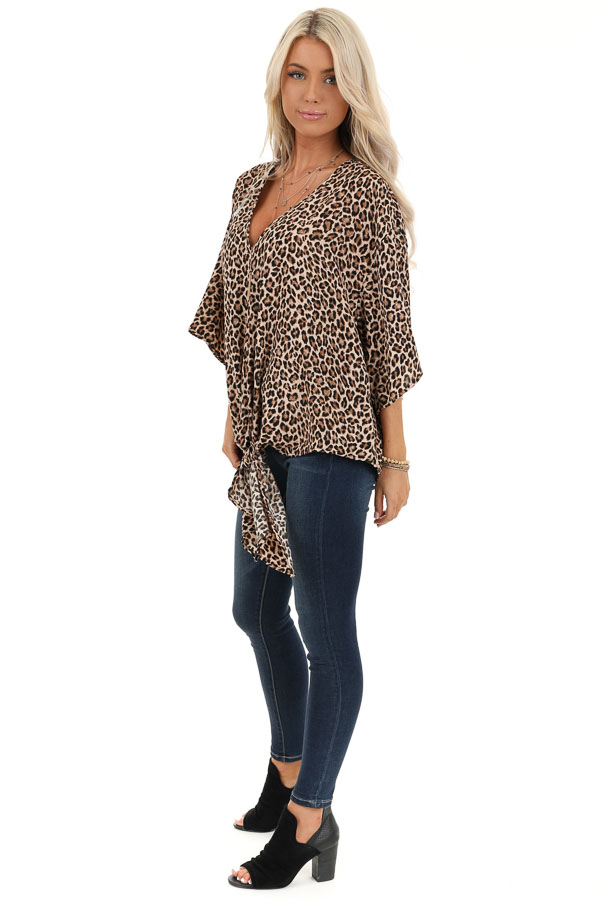 Taupe Leopard Print Top with Front Tie Detail side full body