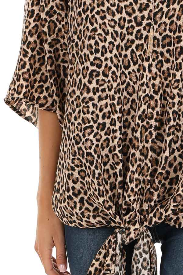 Taupe Leopard Print Top with Front Tie Detail detail