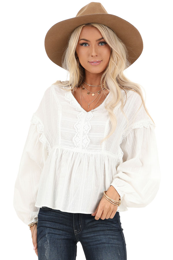 Daisy White Long Sleeve Peplum Blouse with Crochet Lace Trim front close up