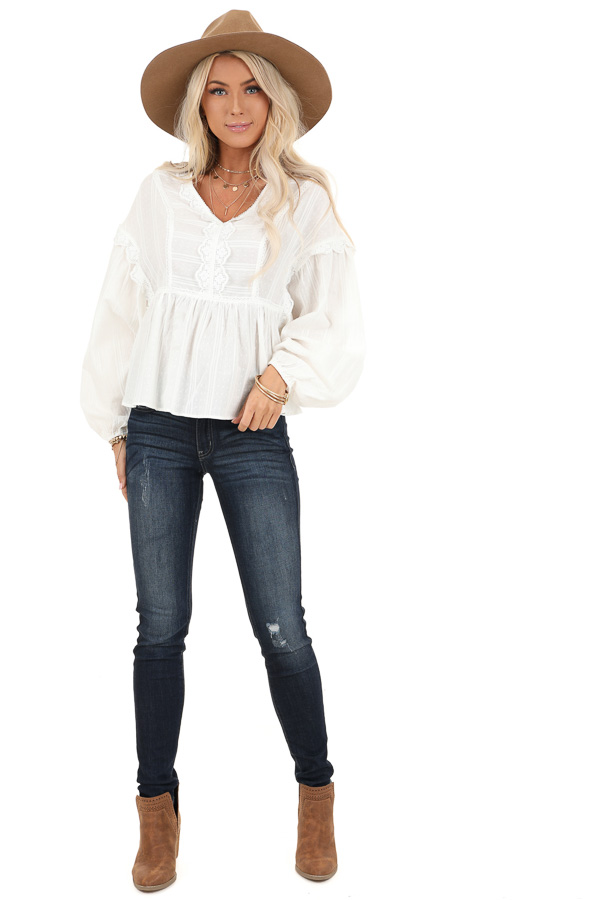 Daisy White Long Sleeve Peplum Blouse with Crochet Lace Trim front full body