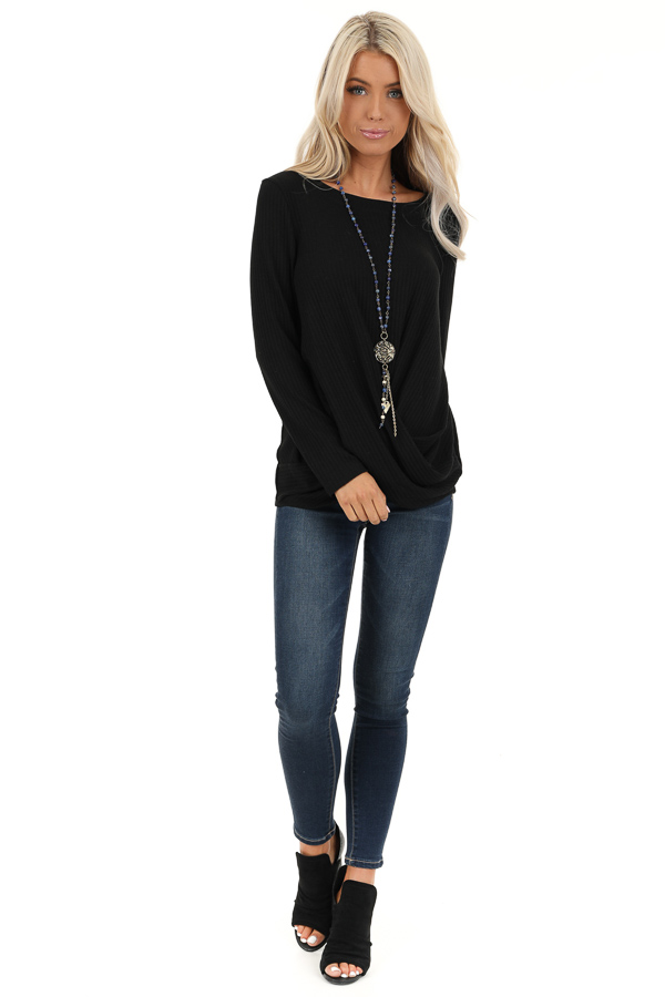 Black Ribbed Knit Top with Long Sleeves and Twisted Hemline front full body
