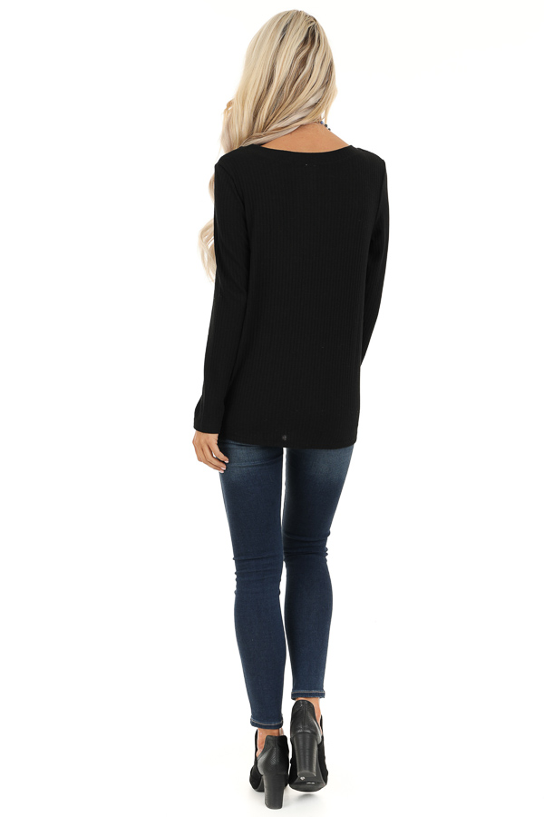 Black Ribbed Knit Top with Long Sleeves and Twisted Hemline back full body