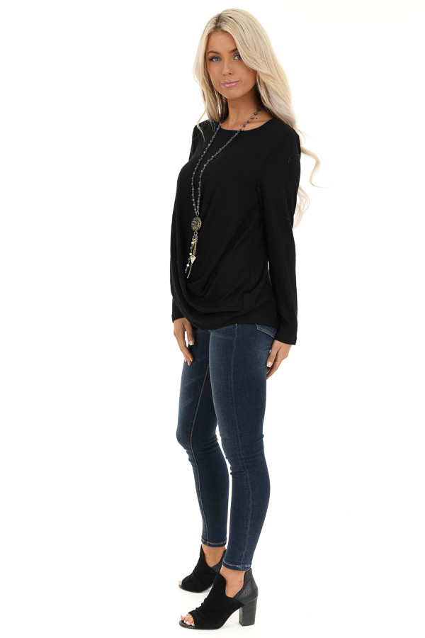Black Ribbed Knit Top with Long Sleeves and Twisted Hemline side full body