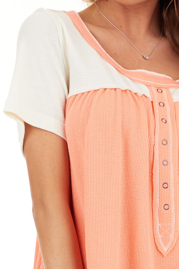 Coral and Ivory Color Block Short Sleeve Top detail