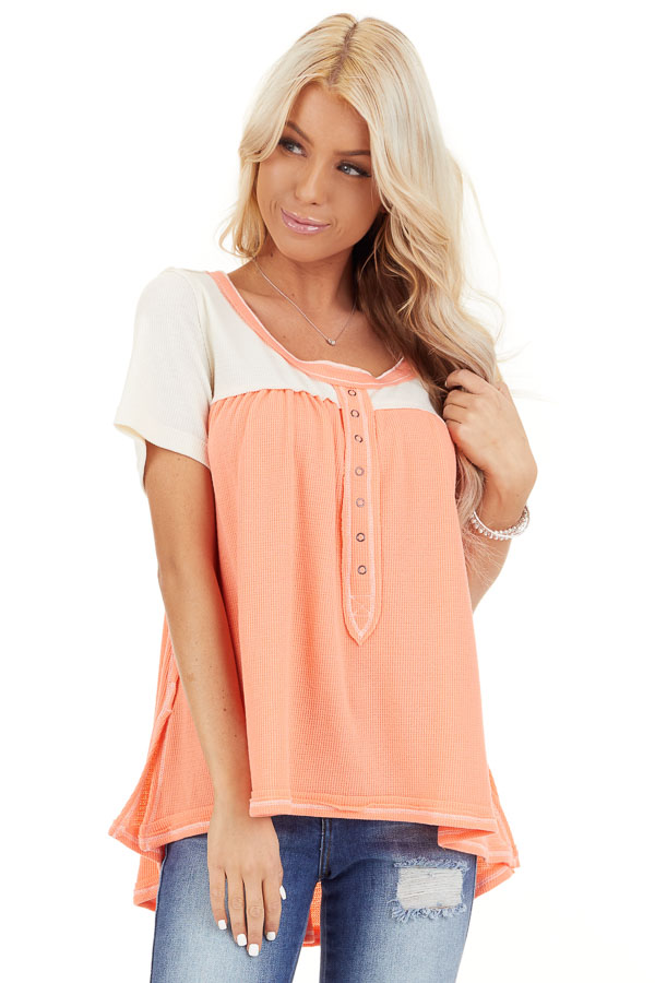 Coral and Ivory Color Block Short Sleeve Top front close up