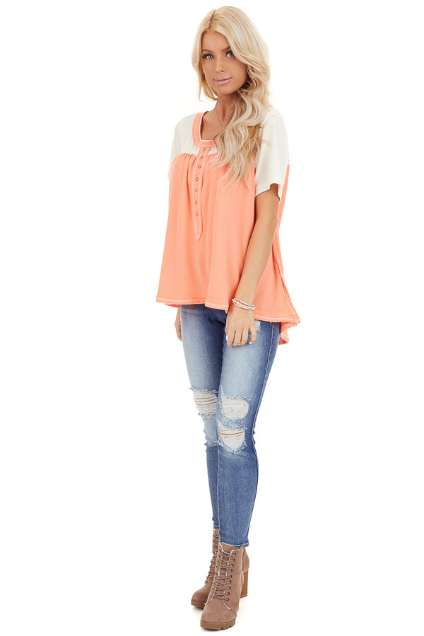 Coral and Ivory Color Block Short Sleeve Top front full body