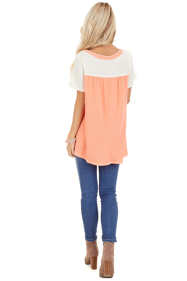 Coral and Ivory Color Block Short Sleeve Top back full body