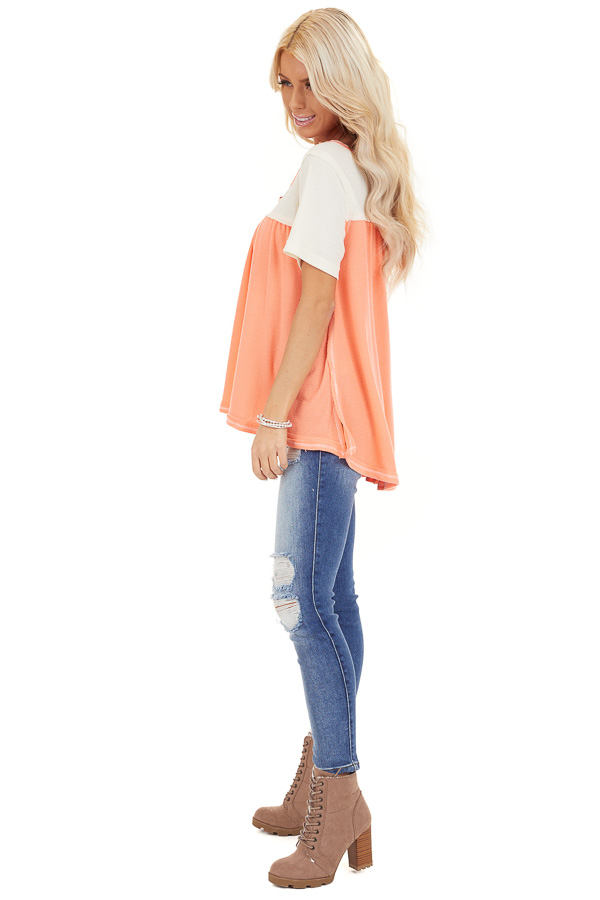 Coral and Ivory Color Block Short Sleeve Top side full body