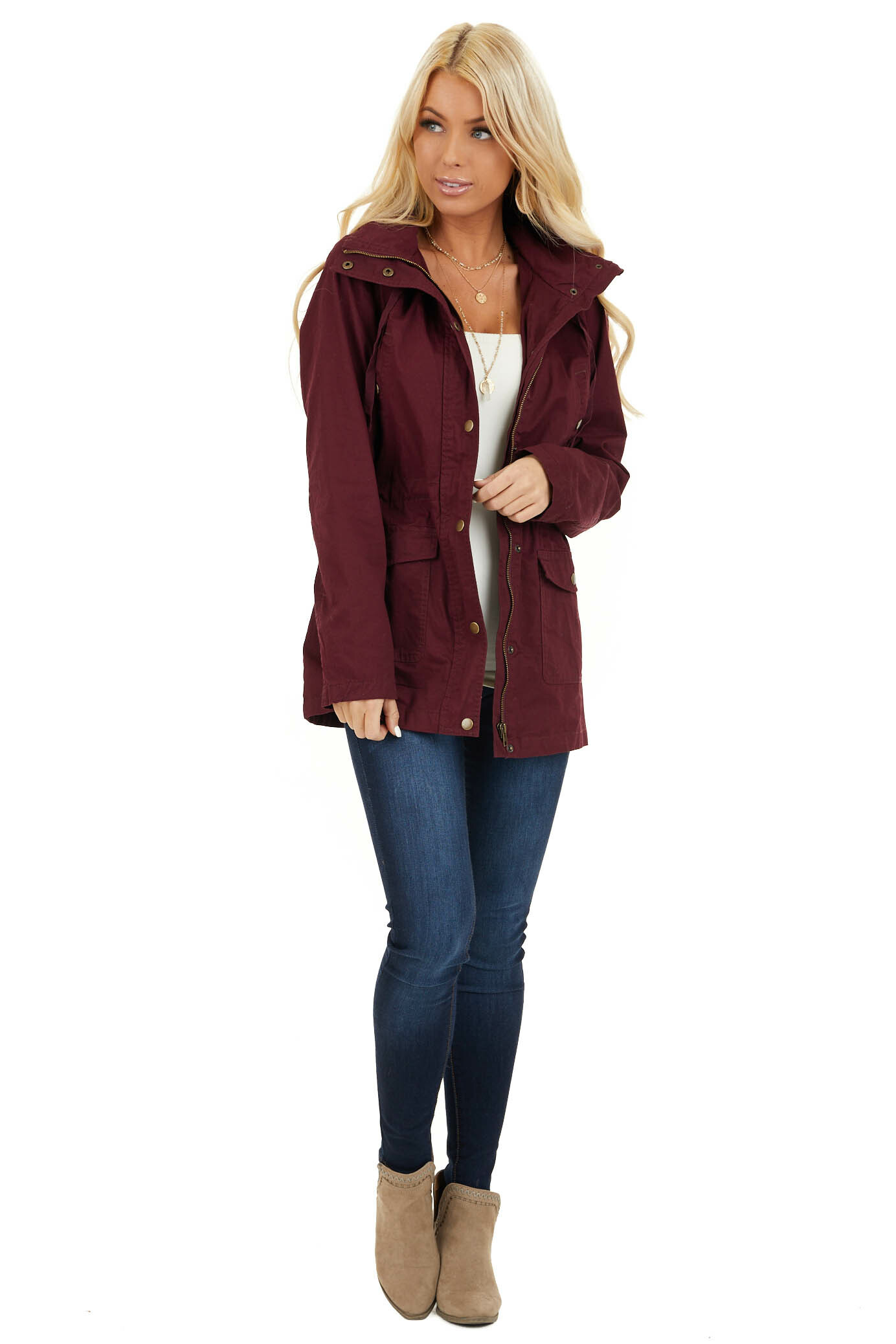 Burgundy Hooded Long Sleeve Military Jacket with Pockets front full body