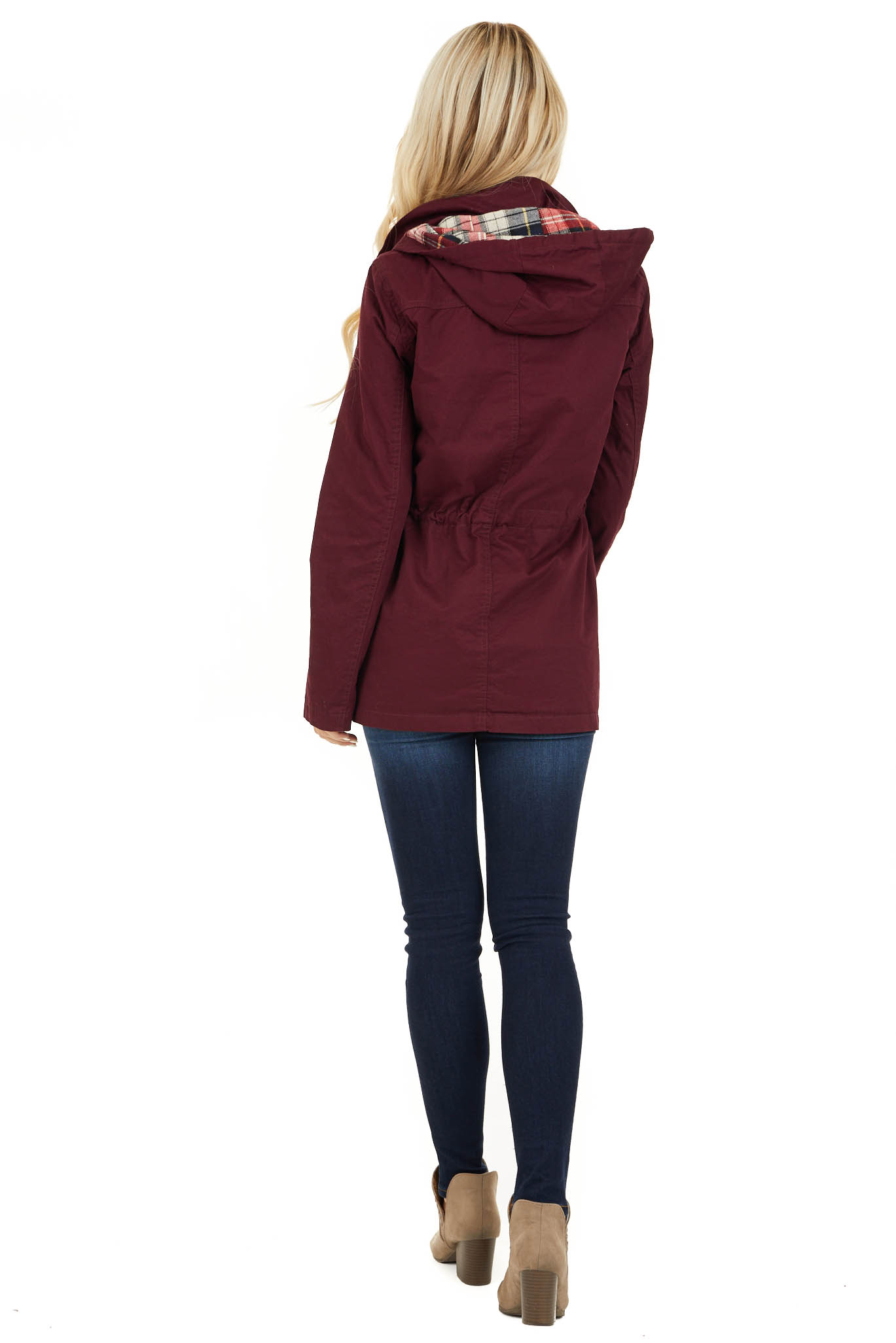 Burgundy Hooded Long Sleeve Military Jacket with Pockets back full body